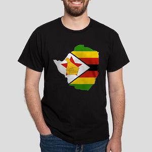 Zimbabwe Flag and Map Dark T-Shirt