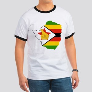 Zimbabwe Flag and Map Ringer T