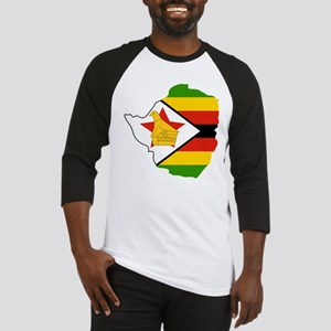 Zimbabwe Flag and Map Baseball Jersey