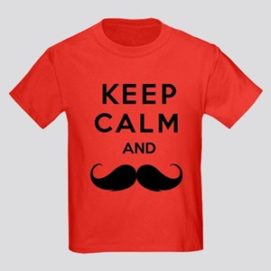 Keep calm and moustache Kids Dark T-Shirt