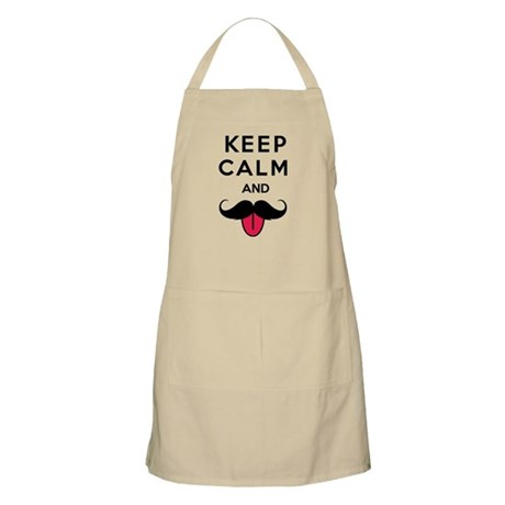 Funny keep calm and moustache Apron
