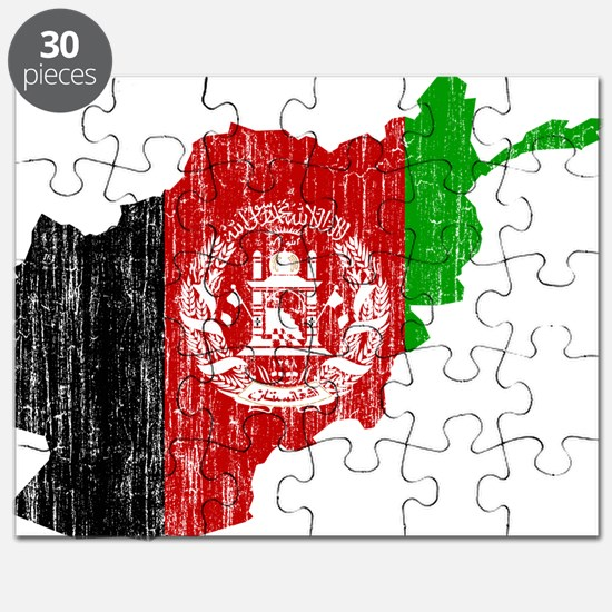 Afghanistan Flag And Map Puzzle