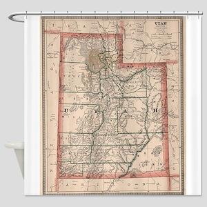 Vintage Map of Utah (1883) Shower Curtain