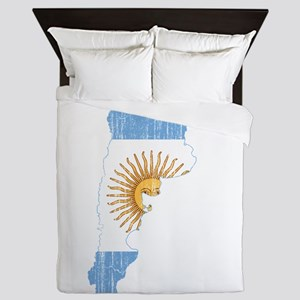 Argentina Flag And Map Queen Duvet
