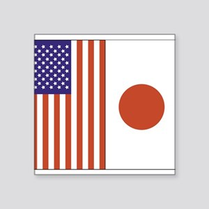 "US and Japan Square Sticker 3"" x 3"""