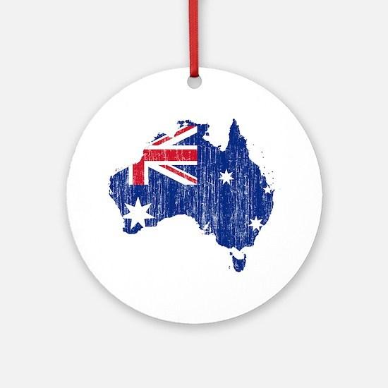 Australia Flag And Map Ornament (Round)
