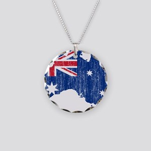 Australia Flag And Map Necklace Circle Charm