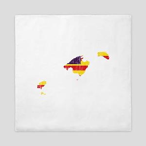 Balearic Islands Flag And Map Queen Duvet
