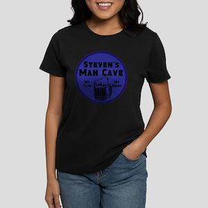 Personalized Man Cave Women's Dark T-Shirt