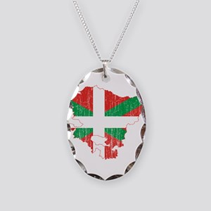 Basque Community Flag And Map Necklace Oval Charm