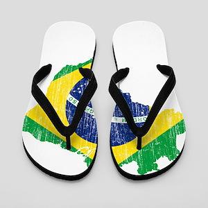 Brazil Flag And Map Flip Flops