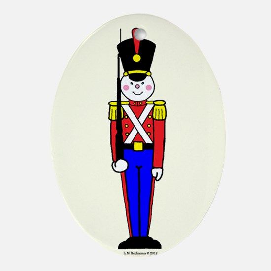 Toy Soldier in Red and Blue Ornament (Oval)