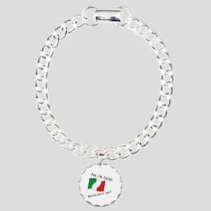 Italian Calm Black Letters Charm Bracelet, One Cha