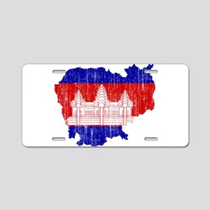 Cambodia Flag And Map Aluminum License Plate