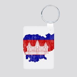 Cambodia Flag And Map Aluminum Photo Keychain
