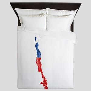 Chile Flag And Map Queen Duvet