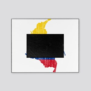Colombia Civil Ensign Flag And Map Picture Frame