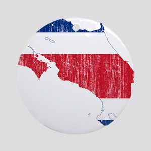 Costa Rica Flag And Map Ornament (Round)