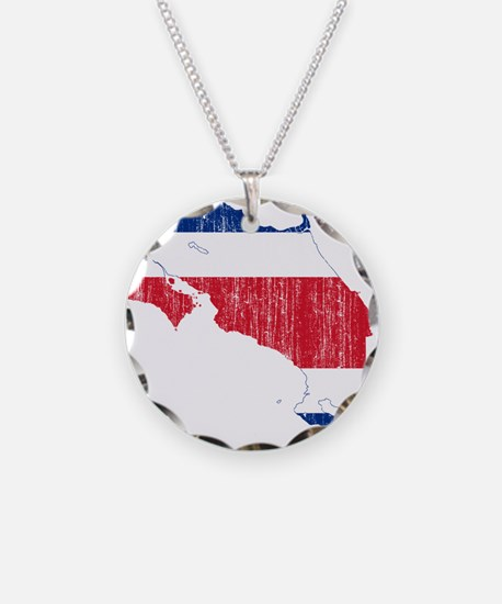 Costa Rica Flag And Map Necklace