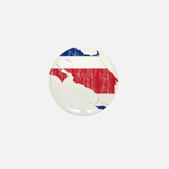 Costa Rica Flag And Map Mini Button