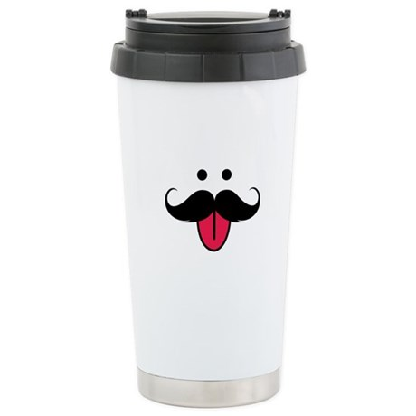 Funny moustache face Stainless Steel Travel Mug
