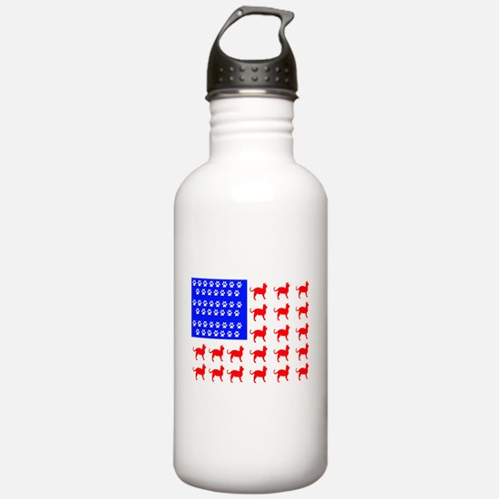Cat and Paw Flag Water Bottle