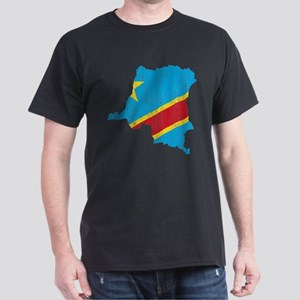 Democratic Republic Of The Congo Flag And Map Dark