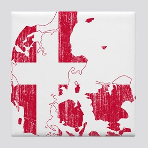 Denmark Flag And Map Tile Coaster