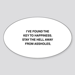 Key To Hapiness Sticker (Oval)