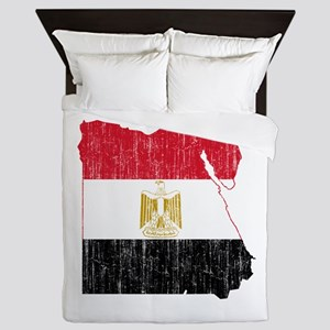 Egypt Flag And Map Queen Duvet