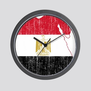 Egypt Flag And Map Wall Clock