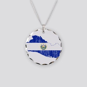 El Salvador Flag And Map Necklace Circle Charm