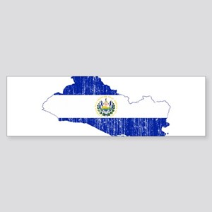 El Salvador Flag And Map Sticker (Bumper)