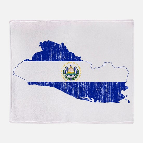El Salvador Flag And Map Throw Blanket