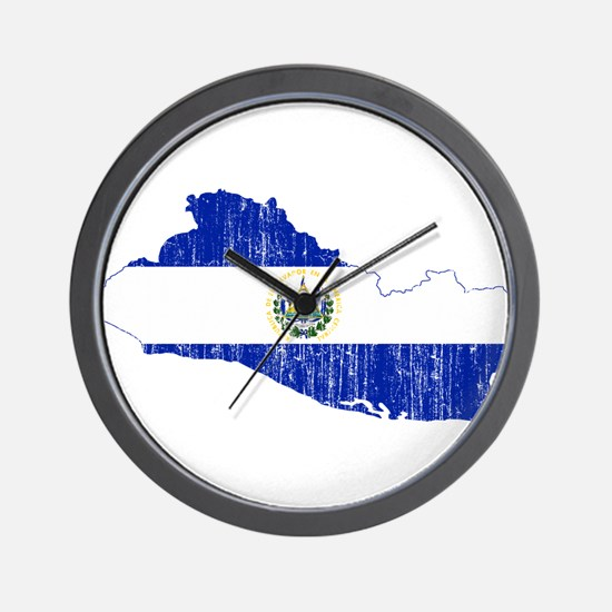El Salvador Flag And Map Wall Clock