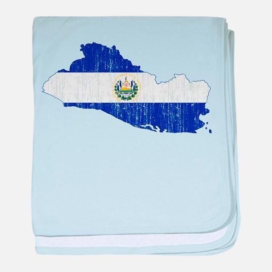 El Salvador Flag And Map baby blanket