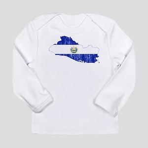 El Salvador Flag And Map Long Sleeve Infant T-Shir