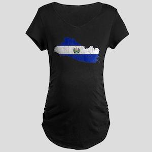 El Salvador Flag And Map Maternity Dark T-Shirt