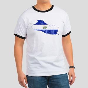 El Salvador Flag And Map Ringer T
