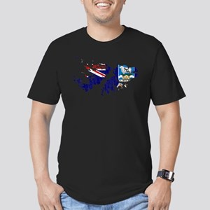 Falkland Islands Flag And Map Men's Fitted T-Shirt