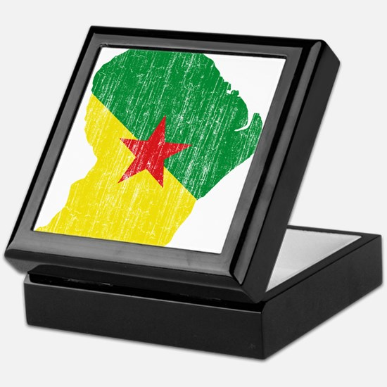 French Guiana Flag And Map Keepsake Box