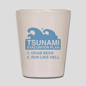 Tsunami Evacuation Plan Shot Glass