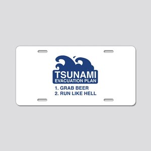 Tsunami Evacuation Plan Aluminum License Plate