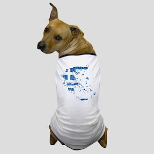 Greece Flag And Map Dog T-Shirt