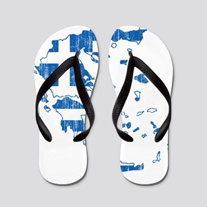 Greece Flag And Map Flip Flops