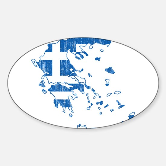 Greece Flag And Map Sticker (Oval)