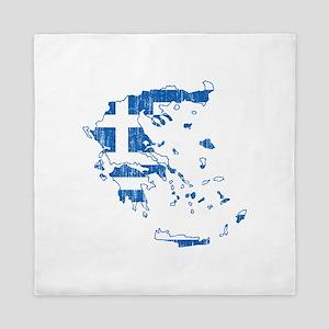 Greece Flag And Map Queen Duvet