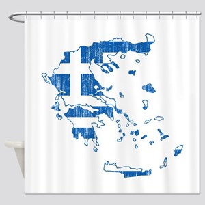 Greece Flag And Map Shower Curtain