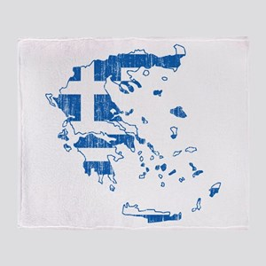 Greece Flag And Map Throw Blanket