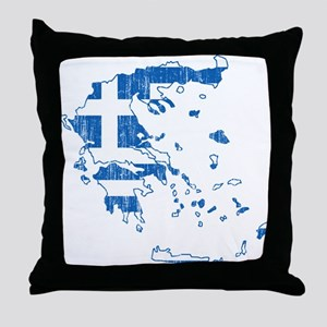 Greece Flag And Map Throw Pillow